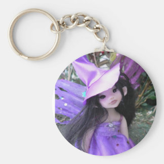 Purple Witch Faery Basic Round Button Key Ring