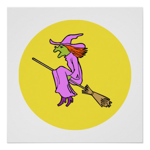 Purple witch flying by the moon print