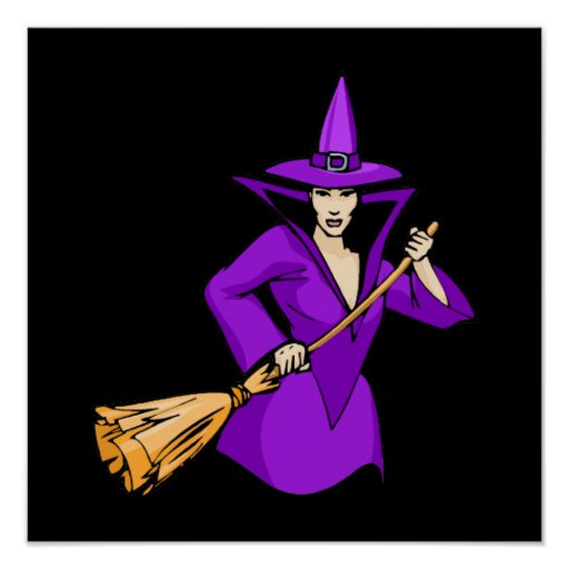 Purple Witch with Broom Poster