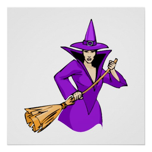 Purple Witch with Broom Posters