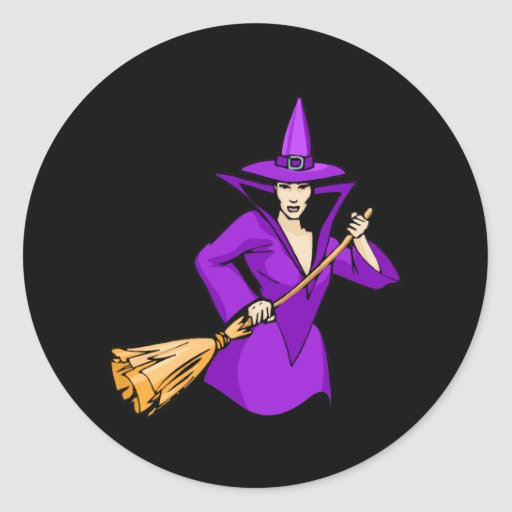 Purple Witch with Broom Stickers