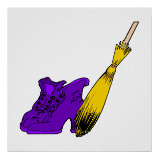 Purple witches shoes & broom print