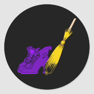 Purple witches shoes broom round stickers