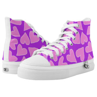 PURPLE WITH BARBIE PINK HEARTS HIGH-TOP SNEAKER