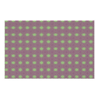 Purple With Green Trippy Pattern Craft Paper Customised Stationery