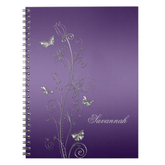 Purple With Silver Floral Butterflies Notebooks