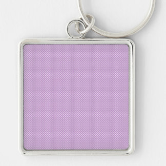 Purple With Simple White Dots Keychain