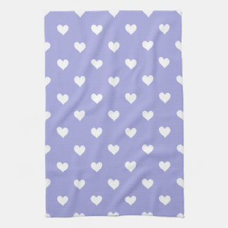 Purple With White Hearts Kitchen Towel
