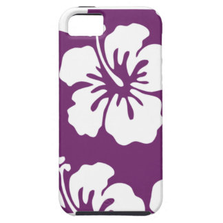 Purple with White Hibiscus iPhone 5 Case