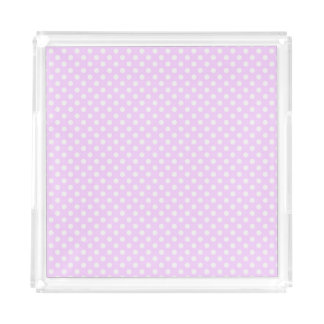 Purple with White Polka Dots Acrylic Tray