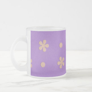 Purple with Yellow Flowers and Dots Design Frosted Glass Mug