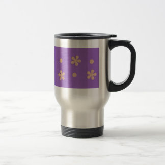 Purple with Yellow Flowers and Dots Design Coffee Mugs