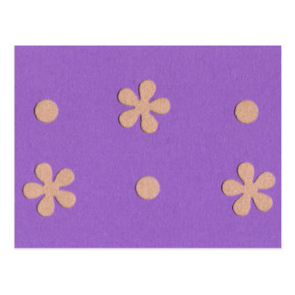 Purple with Yellow Flowers and Dots Design Postcard