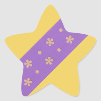 Purple with Yellow Flowers and Dots Design Star Sticker