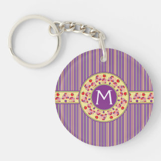 Purple With Yellow Stripes Pattern With Initial Double-Sided Round Acrylic Key Ring