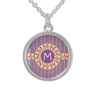 Purple With Yellow Stripes Pattern With Initial Sterling Silver Necklace