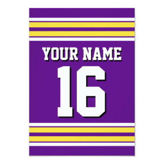 Purple with Yellow White Stripes Team Jersey 13 Cm X 18 Cm Invitation Card