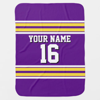 Purple with Yellow White Stripes Team Jersey Baby Blanket