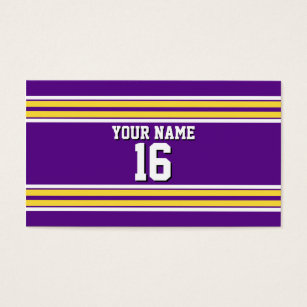 Jersey business cards business card printing zazzle uk purple with yellow white stripes team jersey business card reheart