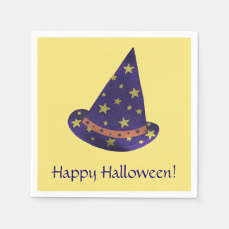 Purple Wizard Hat Yellow Stars Halloween Napkins Disposable Serviette