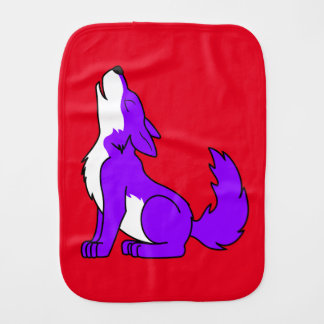 Purple Wolf Pup Howling Burp Cloth