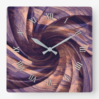 Purple wood design wall clock
