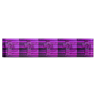 Purple Wooden Cross Desk Nameplates
