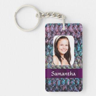 Purple wool photo template key ring
