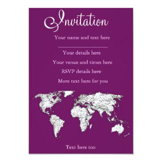 Purple world map 13 cm x 18 cm invitation card
