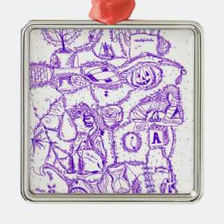 Purple world- purple ink drawing of multiple items christmas ornament