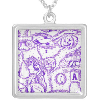 Purple world- purple ink drawing of multiple items square pendant necklace