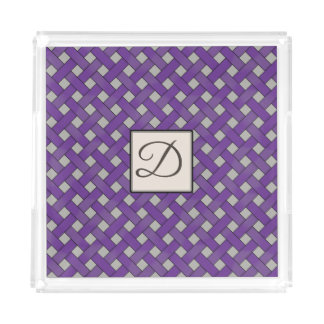 Purple Woven Rattan on Custom Color with Monogram Acrylic Tray