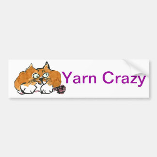 Purple Yarn and a Fiesty Orange Cat Bumper Sticker
