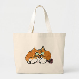 Purple Yarn and a Fiesty Orange Cat Large Tote Bag