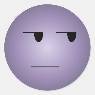 Purple Yeah Right Smiley Round Sticker
