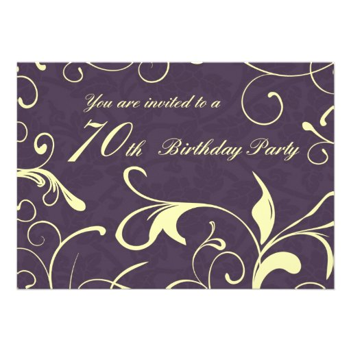 Purple Yellow 70th Birthday Party Invitation Cards