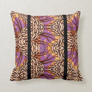 Purple, Yellow and Black Art Deco Flower Cushion