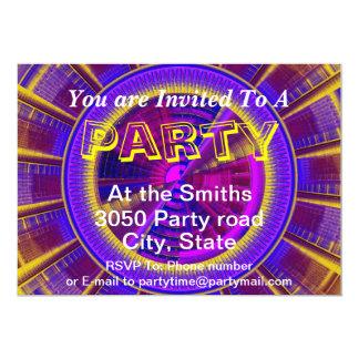 Purple Yellow And Pink Futuristic Tech Circle 13 Cm X 18 Cm Invitation Card