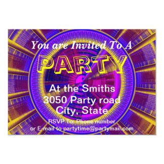 Purple Yellow And Pink Futuristic Tech Circle 5x7 Paper Invitation Card
