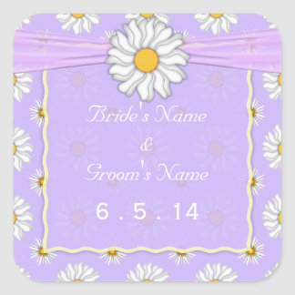 Purple Yellow and White Daisy Wedding Stickers