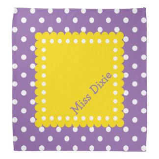 Purple Yellow and White Polka Dot Personalized Bandana