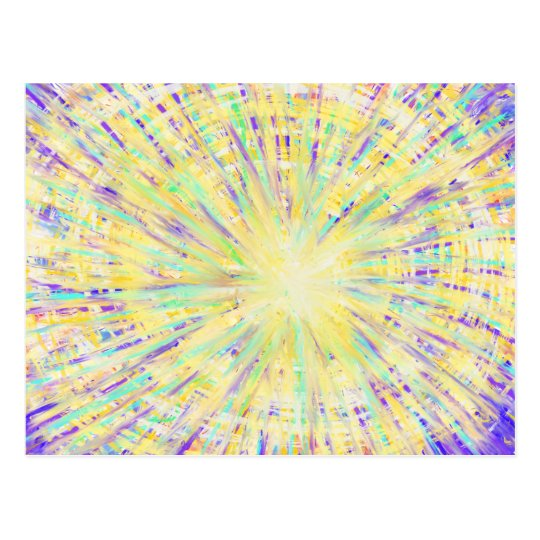 Purple Yellow Aqua Star Abstract Art Design Postcard