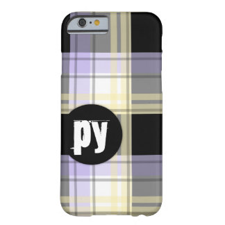 Purple Yellow Black Plaid Monogram iPhone 6 Case Barely There iPhone 6 Case