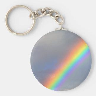 purple yellow blue red rainbow basic round button key ring