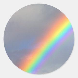purple yellow blue red rainbow round sticker