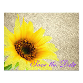 Purple Yellow Burlap Country Sunflower Floral 4.25x5.5 Paper Invitation Card