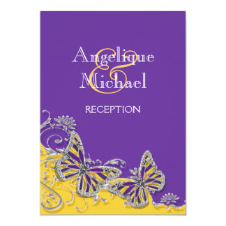 Purple yellow butterfly wedding engagement card