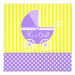Purple Yellow Carriage Dots Girl Baby Shower 13 Cm X 13 Cm Square Invitation Card