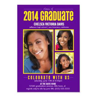 Purple Yellow Class of 2014 Graduate Photo Invite