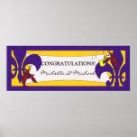 Purple Yellow Fleur de Lis Crawfish Party Banner